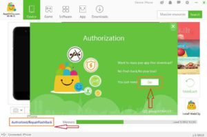click authorized repair flashback prove authrization tap go