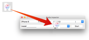 Drag and Drop SoundCloud iPA File onto Cydia Impactor