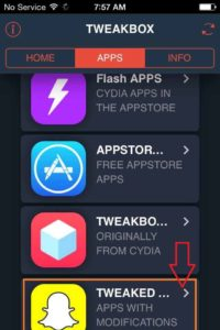 Click on Tweaked App the Apps With Modification option