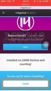 Click on Install in IndigoHub.cf