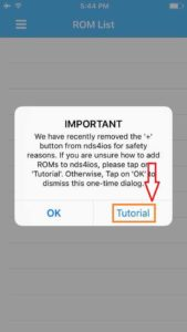 Tap on Tutorial to Know How to Add Roms to NDS4iOS
